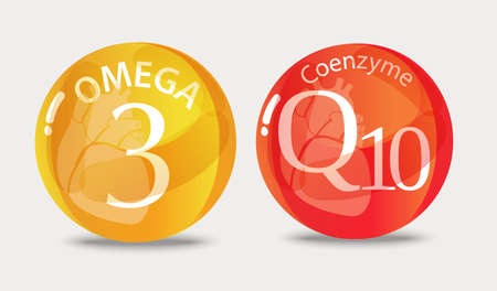 Illustration for Coenzyme q10 and Omega 3. Normalization of cardiac activity. Basics of a healthy lifestyle. - Royalty Free Image