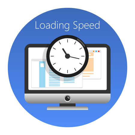Illustration pour Website loading speed or worked time icon. In a blue circle on a white background. Vector illustration. - image libre de droit