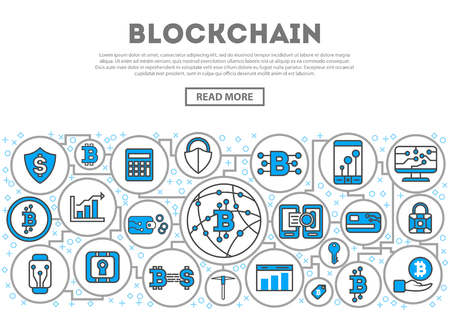 Illustration for Blockchain network linear style infographics. Distributed ledger technology, business cloud computing, global payment system, financial data protection, data processing, network communication concept - Royalty Free Image