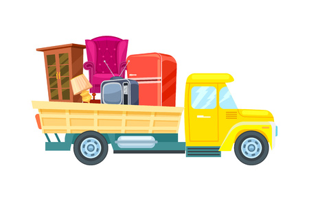 Illustration pour Relocation freight truck with furniture icon. Commercial shipping, transportation company badge with cargo truck, relocation service vector illustration. - image libre de droit