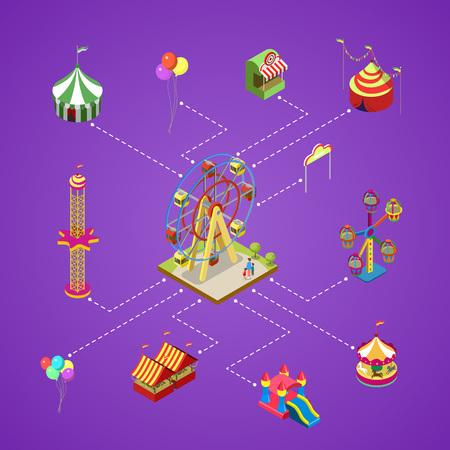 Illustration pour Amusement park infographic with isometric elements - image libre de droit