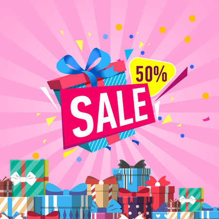 Illustration pour Discount sales proposition vector illustration - image libre de droit