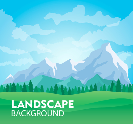 Ilustración de Sunny mountain landscape background vector illustration. Ice mountain range with forest and green field. Nature tourism, extreme travel and hiking, mountaineering and outdoor adventure backdrop - Imagen libre de derechos