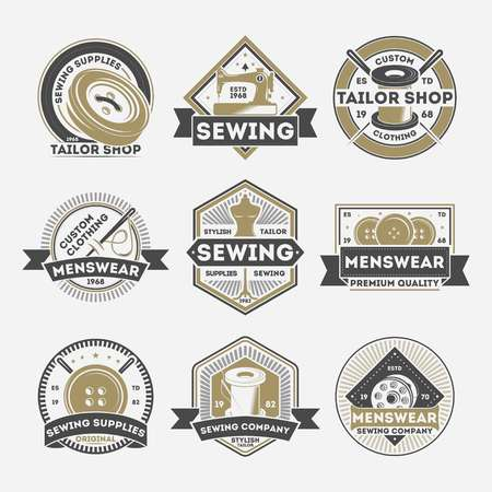 Tailor sewing company vintage label set isolated vector illustration. Menswear studio badge, tailor shop emblem, premium quality custom clothing atelier symbol collection in monochrome style