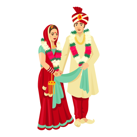 Photo pour Indian wedding couple in traditional dresses. Vector design for wedding invitation, web design, prints. - image libre de droit