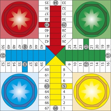 Illustration pour Board of parchis, typical spanish board game  Parcheesi, ludo - image libre de droit