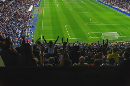 Foto de A goal is celebrated for the supporters of a team in a soccer stadium - Imagen libre de derechos