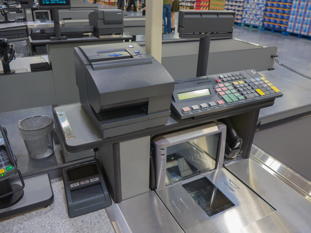 A cash register line in the supermarket