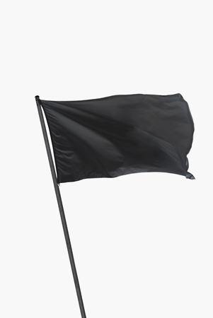 Photo for Black flag waving on the wind isolated over white - Royalty Free Image