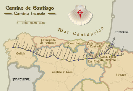 Illustration pour Map of Saint James way with all the stages of french way. Mapa del Camino de Santiago. - image libre de droit