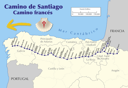 Illustration pour Map of Camino de Santiago. Map of Saint James way with all the stages of french way. Camino frances. vector illustration - image libre de droit