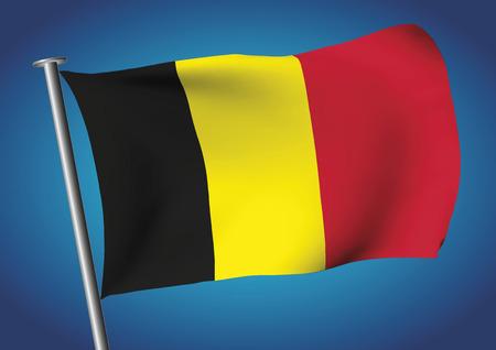 Ilustración de Belgium flag waving on the sky. Tricolor flag. Belgian flag. Vector illustration. gradient mesh. EPS 10. - Imagen libre de derechos