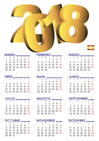 Illustration for Spanish calendar 2018. Year 2018 calendar. Calendar 2018. calendario 2018. White background - Royalty Free Image
