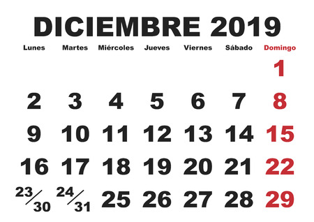 Illustration for December month in a year 2019 wall calendar in spanish. Diciembre 2019. Calendario 2019 - Royalty Free Image