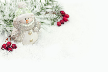 Snowman with winter snow background
