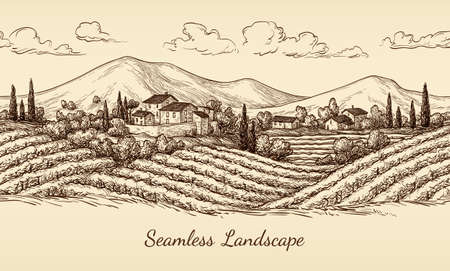 Illustration pour Vineyard seamless landscape. - image libre de droit