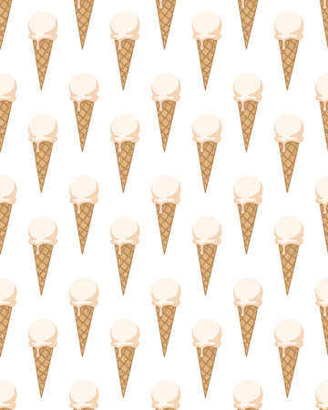 Illustration for Seamless pattern with ice cream cones. Vector illustration. - Royalty Free Image