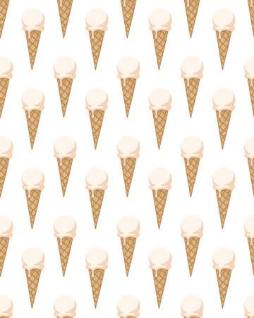 Ilustración de Seamless pattern with ice cream cones. Vector illustration. - Imagen libre de derechos