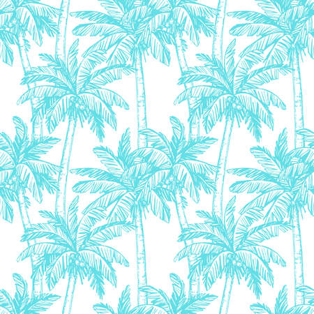 Illustration for Seamless pattern with coconut palm trees - Royalty Free Image