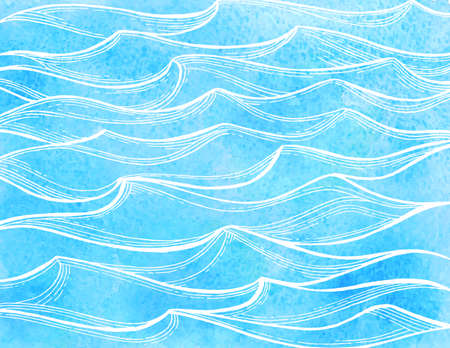 Illustration for Watercolor sea waves. - Royalty Free Image