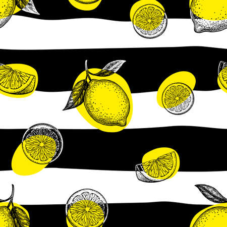 Illustration for Striped seamless pattern with lemons. - Royalty Free Image