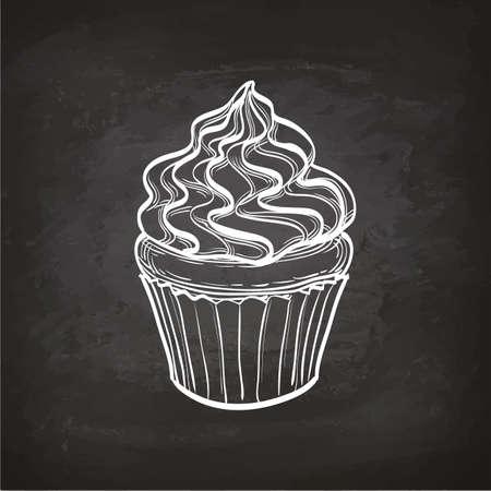 Illustration pour Cupcake sketch on chalkboard. - image libre de droit