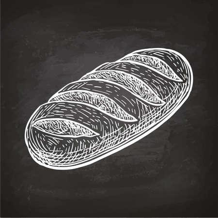 Illustration pour Loaf of bread. Chalk sketch on blackboard. Hand drawn vector illustration. Retro style. - image libre de droit