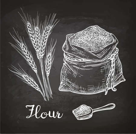 Illustration for Wheat and bag of flour. Chalk sketch on blackboard. Hand drawn vector illustration. Retro style. - Royalty Free Image