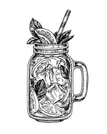 Ilustración de lemonade in mason jar. Retro style ink sketch isolated on white background. Hand drawn vector illustration of mojito. - Imagen libre de derechos