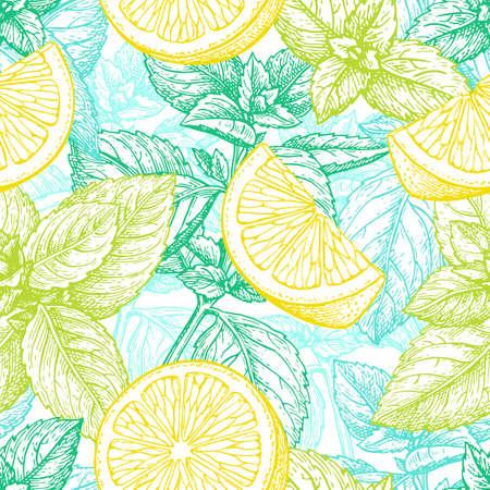 Ilustración de Pattern with lemon and mint. - Imagen libre de derechos