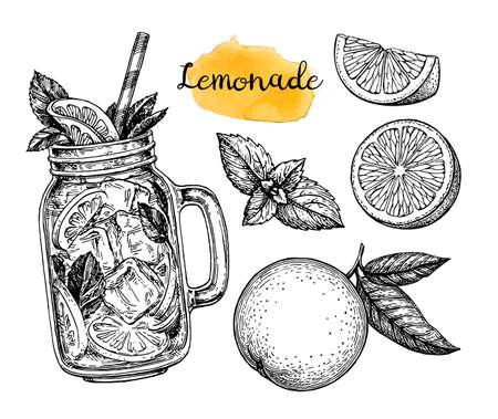 Ilustración de Orange lemonade and ingredients. Retro style ink sketch isolated on white background. Hand drawn vector illustration. Retro style ink sketch. - Imagen libre de derechos