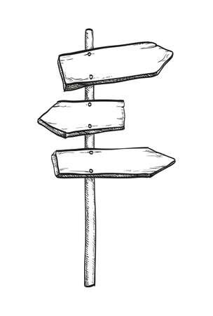 Illustration for Ink sketch of wooden signpost - Royalty Free Image