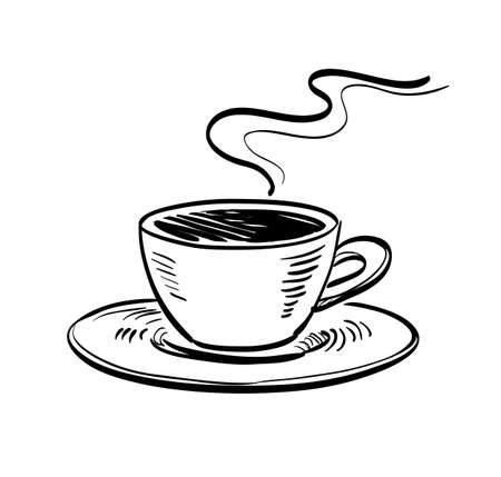 Illustration for Cup of coffee. Ink sketch isolated on white background. Hand drawn vector illustration. Retro style. - Royalty Free Image