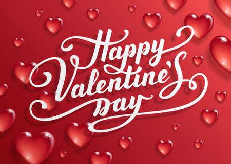 Ilustración de Happy Valentine's Day text. Calligraphic Lettering. Valentine s day greeting card template. Vector illustration. - Imagen libre de derechos
