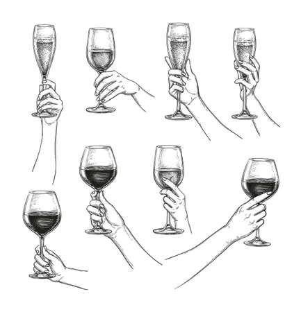 Illustration for Set of hands with wine glasses - Royalty Free Image