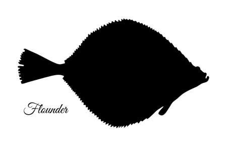 Ilustración de Flatfish. Silhouette of flounder. Hand drawn vector illustration isolated on white background. - Imagen libre de derechos