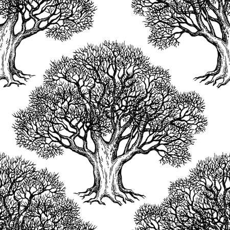 Ilustración de Seamless pattern. Ink sketch of oak without leaves. Winter tree. Hand drawn vector illustration. Retro style. - Imagen libre de derechos