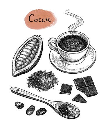 Illustration for Cocoa and chocolate set. - Royalty Free Image