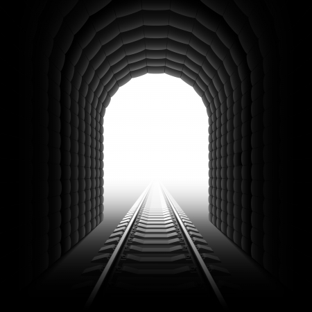 Railroad tunnel. Detailed illustration.