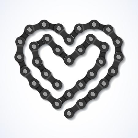 Illustration pour Bicycle chain heart - image libre de droit