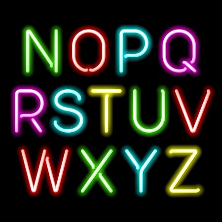 Illustration pour Neon glow alphabet - image libre de droit