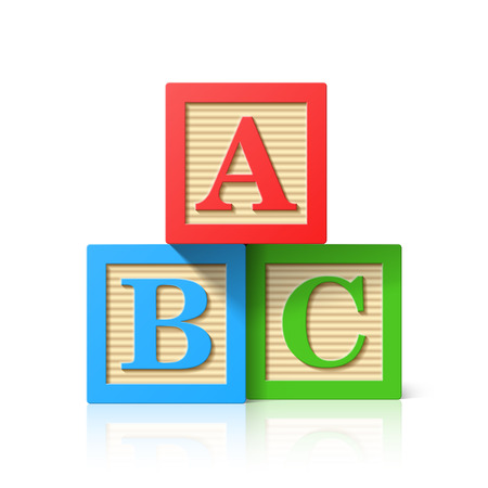 Illustration pour Wooden alphabet cubes with A,B,C letters - image libre de droit