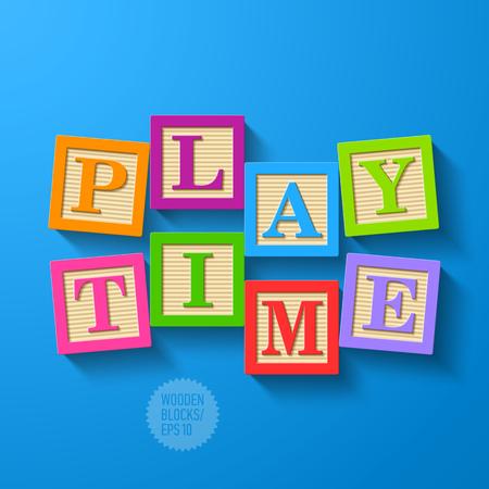 Ilustración de Play Time - wooden blocks - Imagen libre de derechos