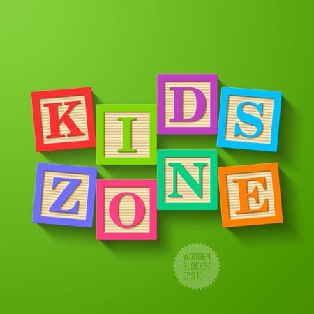 Ilustración de Kids Zone - wooden blocks  - Imagen libre de derechos