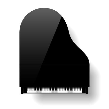 Illustration pour Black grand piano top view - image libre de droit