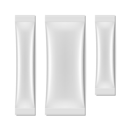 Ilustración de White blank sachet packaging, stick pack - Imagen libre de derechos