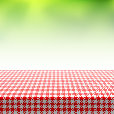 Illustration pour Picnic table covered with checkered tablecloth - image libre de droit