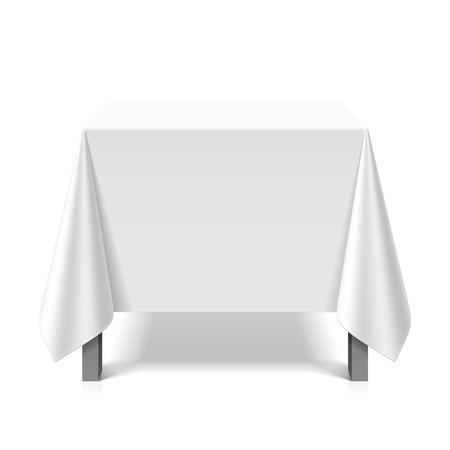 Illustration pour Square table covered with white tablecloth - image libre de droit