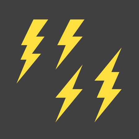 Illustration for Flat lightning symbols set - Royalty Free Image