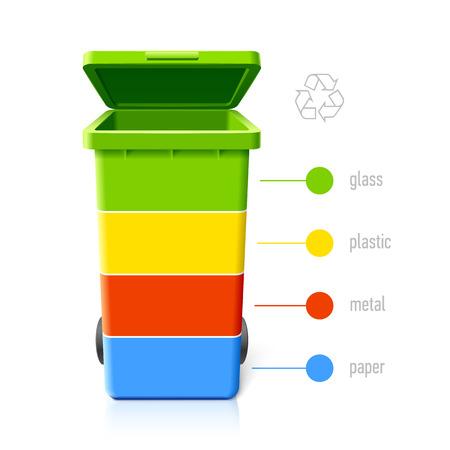 Ilustración de Recycling bins colors infographic - Imagen libre de derechos